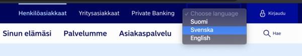 Verkkopankin screenshot